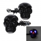 Skull Head Style 1W 4-LED 60lm Purple Light Motorcycle Steering Lamps - Black (12V)
