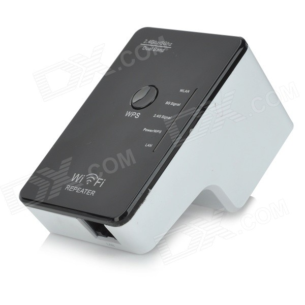 Dual-band 2.4 / 5GHz 300Mbps IEEE 802.3u/a/n/b/g Wireless AP Wi-Fi Repeater - Black +White (US Plugs)