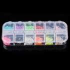 Fashion DIY Glitter Decorative Acrylic + Plastic Nail Art Sticker Set - Multicolored