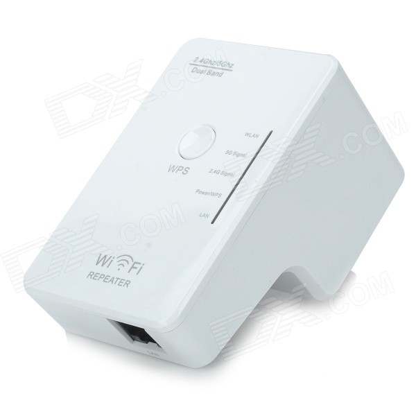 Dual-band 2.4 / 5GHz 300Mbps IEEE 802.3u/a/n/b/g Wireless AP Wi-Fi Repeater - White (US Plug)