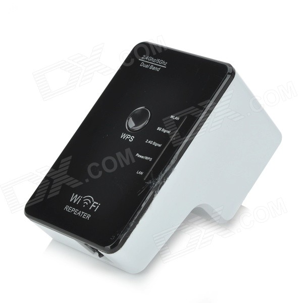 Dual-band 2.4 / 5GHz 300Mbps IEEE 802.3u/a/n/b/g Wireless AP Wi-Fi Repeater - Black +White (AU Plug)
