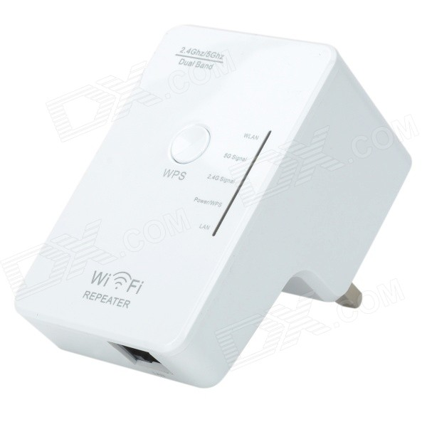 Dual-band 2.4 / 5GHz 300Mbps IEEE 802.3u/a/n/b/g Wireless AP Wi-Fi Repeater - White (UK Plug)