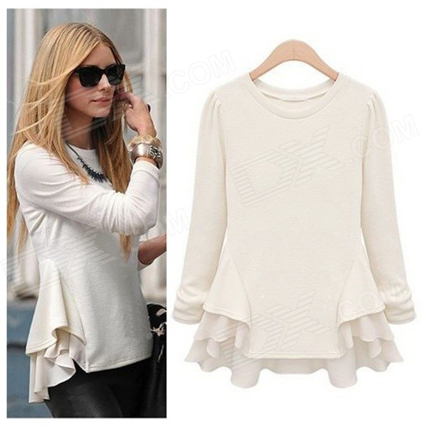 AC10009 Women's Fashion Round Neck Long Sleeves Chiffon T-Shirt - White (L)