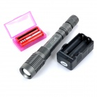 UltraFire 800lm 5-Mode White Zooming LED Flashlight Torch w/ Battery Charger - Grey (2 x 18650)