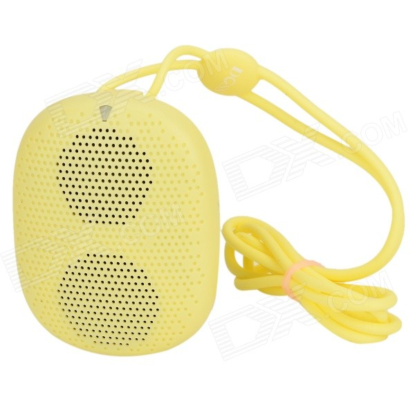DOSS DS-1196 Portable Mini Wearable Wireless Bluetooth Speaker w/ TF Slot / Hands-free Call - Yellow t050 3w mini portable retractable stereo speaker w tf black golden 16gb max
