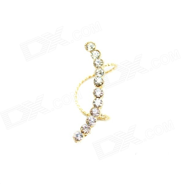 E015 Women's Fashionable Rhinestone-studded Zinc Alloy Clip-on Earring Ear Clip - Golden