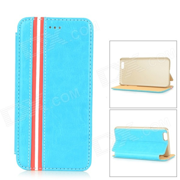 Protective Flip-Open PU + PC Case w/ Stand for IPHONE 6 4.7 - Sky BlueLeather Cases<br>Color Sky Blue Shade Of Color Blue Quantity 1 Piece Material PU + PC Compatible Models IPHONE 6 Style Full Body Cases Design Mixed ColorWith Stand Other Features Protects the cell phone from dust shock and scratches Packing List 1 x Protective case<br>