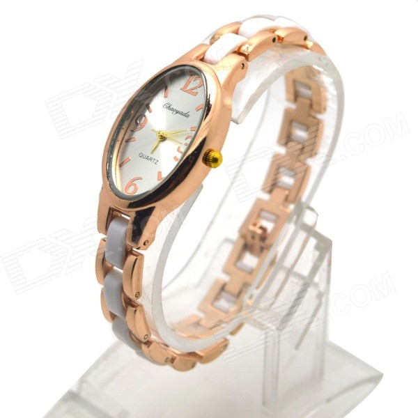 Women's Fashion Electroplating Steel Oval  Dial Analog Quartz Bracelet Watch - Golden + White