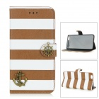Anchor Style Decoration Protective Flip-Open PU + PC Case w/ Stand for IPHONE 6 PLUS - Brown + White