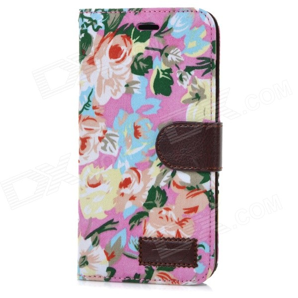 Flower Pattern Protective Flip-Open PU Case Cover w/ Card Slot for IPHONE 6 PLUS - Multi-colored cute owl pattern pu leather flip open case w stand card slot for iphone 4 4s multi color