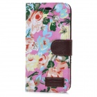 Flower Pattern Protective Flip-Open PU Case Cover w/ Card Slot for IPHONE 6 PLUS - Multi-colored