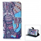 Stylish Patterned Protective Flip-Open TPU + PU Case w/ Card Slot for IPHONE 6 - Multi-colored