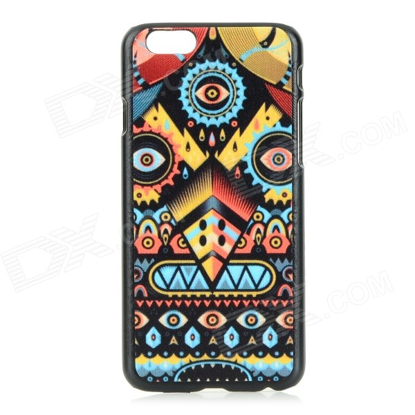 Patterned Protective PC Back Case Cover for IPHONE 6 - Black + Yellow et pattern protective pc back case cover for iphone 6 yellow multi colored