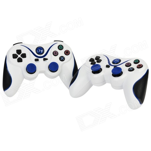 Dual-Shock Bluetooth V3.0 Controller Gamepad Joypad for PS3 / PS3 Slim - White + Blue (2 PCS)