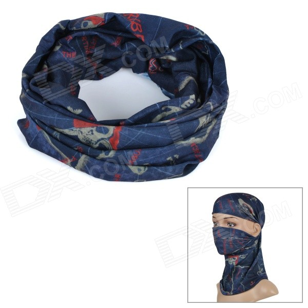 Wild Color C5013 Pirate Pattern Outdoor Cycling Headband / Face Mask / Neck Scarf - Deep Blue
