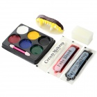 Party Cosplay Zombie Teeth + 6-Color Face Body Painting Pigment - White + Red + Multi-Color