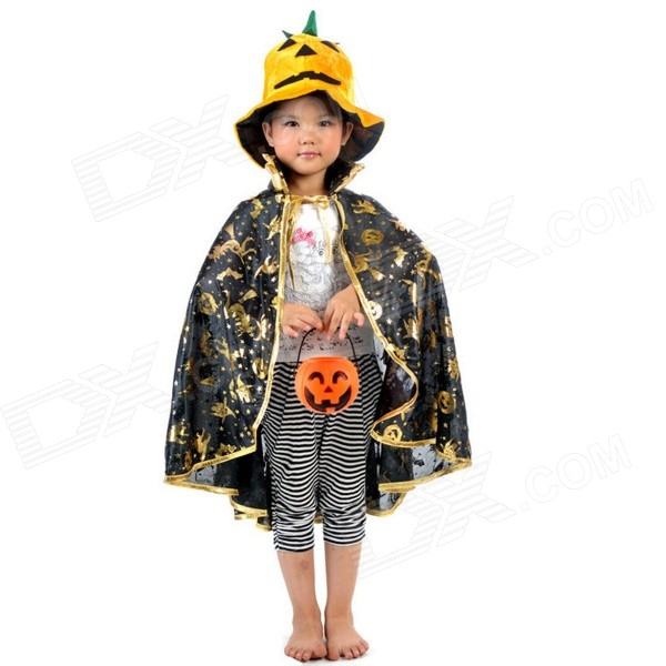 Cool Halloween Cosplay Witch Pumpkin Animal Pattern Mantle Cape - Black + Golden
