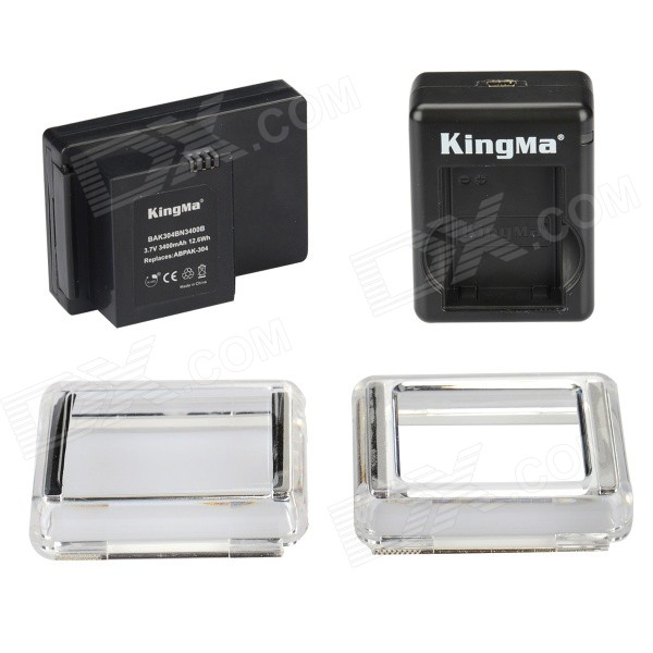 Kingma 3400mAh Li-po Battery BacPac w/ Dual Charger for GoPro Hero 3+, ABPAK-304 - Black gopro hero 3 3 4 lcd screen bacpac display viewer backdoor case cover gopro expand protective frame for gopro3 3 4 accessories