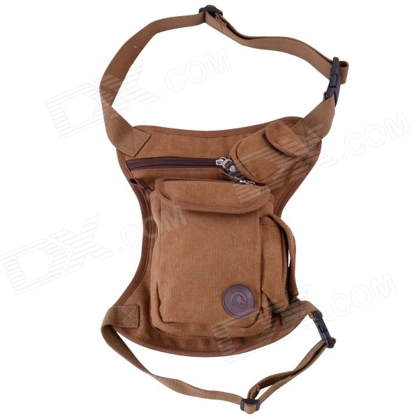 5-Pocket Waist & Leg Canvas Bag for Camping and Traveling - Brown