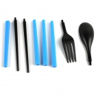 Outdoor Folding Fork Spoon Chopsticks Set - Black + Blue
