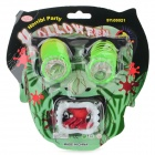 Halloween Funny Tricky Cosplay Glasses w/ Spring Eye + Zombie Teeth Set - Green + White
