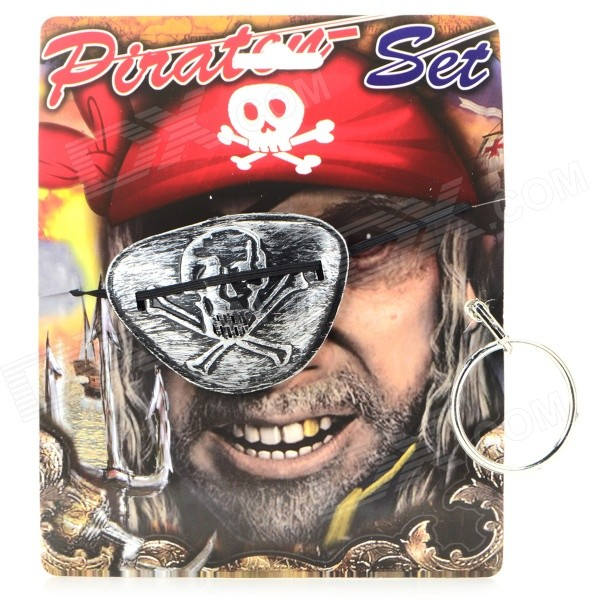 Halloween Cosplay Pirate's One-eye Patch + Earring - Antique Silver