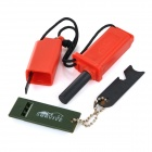TuoZhanJie Outdoor Camping Survival Fire Starter Flintstone Magnesium Rod w/ Whistle + Scraper - Red