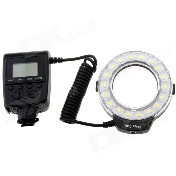 Travor RF600D 5500K 18-LED Micro Ring Flash Light for Nikon Canon Panasonic Olympus DSLR Camera neewer cn 304 304pcs led dimmable ultra high power panel digital camera camcorder video light led light for canon nikon pentax