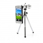 12x Zoom Aluminum Alloy Telephoto Lens w/ Tripod Mount + Back Case for IPHONE 6 - Black + Silver