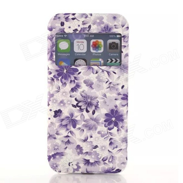 Fresh Flower Pattern PU Leather Cover Case w/ View Window for IPHONE 6 - Purple roar korea for iphone 7 4 7 diary view window two tone leather case orange
