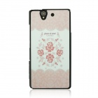 Romantic Rose Pattern Plastic Case for Sony Xperia Z / L36H - White + Pink