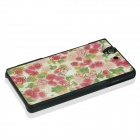 Sweet Floral Pattern Plastic Case for Sony Xperia Z / L36H - Pink + Green
