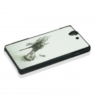 Sexy high-heeled Shoe Pattern Plastic Case for Sony Xperia Z / L36H - White + Black