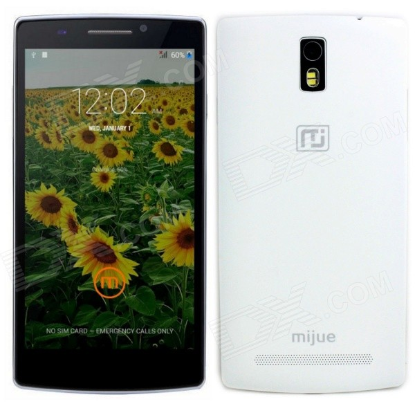"Mijue M580 Android 4.4 Quad Core WCDMA Phone w / 5.5 "", 1 GB RAM, 8 GB ROM, GPS, WiFi, Bluetooth - Hvit"