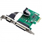 1P1S PCI-E to 1-Port  LPT / 1-Port RS232 Extension Card - Green