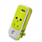 CD98-01BX Multifunction 3A 750W USB Travel Five-hole Power Socket - Green + White (220V)