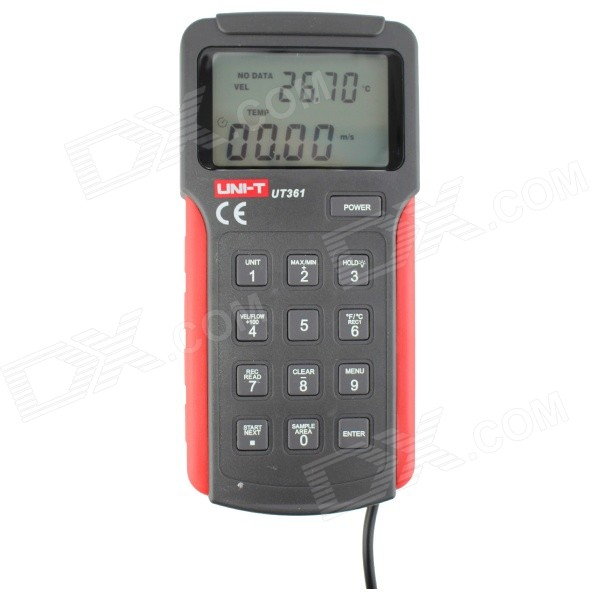 UNI-T UT361 2.6 LCD Digital Anemoscopes - Black Gray + Red (1 x 9V) handheld digital anemometer for wind speed measurement