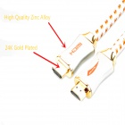 Yellowknife Y800-004 hoog-speed 3D HDMI Male naar Male Connection Nylon Cable-White + Geel (2m)
