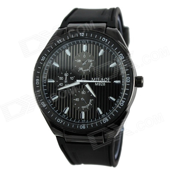 MILAQI 928 Men's Rubber Band Quartz Analog Sports Wrist Watch - Black (1 x 377)