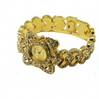 Jalon 280 Women's Fashionable Rhinestone-studded Quartz Analog Watch - Gold + Yellow (1 x SR626)