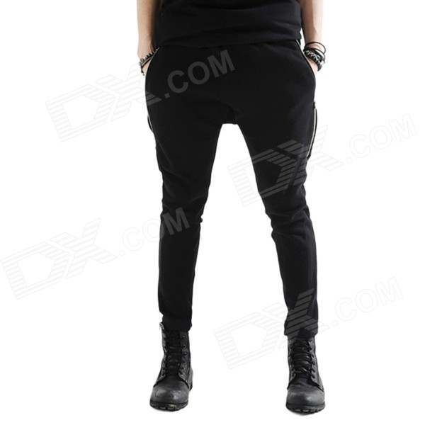 K16 Men's Fashionable Double Zipper Skinny Feet Tight Trousers - Black (Size L)