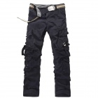 Men's European Style Multi-pocket Cotton Overalls - Black (Size 34)