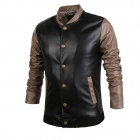 Men's Contrast Color Stitching PU Leather Jacket - Black + Brown (Size XL)