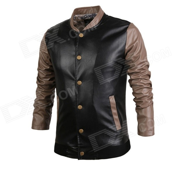 Men's Contrast Color Stitching PU Leather Jacket - Black + Brown (Size L)