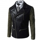 DB-728 Men's Korean Style Slim Spell Color Lapel PU Leather Jacket - Black + Army Green (Size XL)