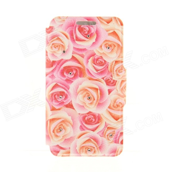 Kinston Roses Pattern Protective PU + Plastic Flip Open Case for IPHONE 6 4.7 - Red + Yellow