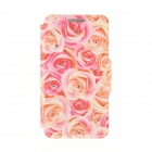 "Kinston Roses Pattern Protective PU + Plastic Flip Open Case for IPHONE 6 4.7"" - Red + Yellow"