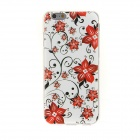 """Kinston Flowers Pattern Protective TPU Flip Open Case for IPHONE 6 4.7"""" - Black + Red + Multi-color"""