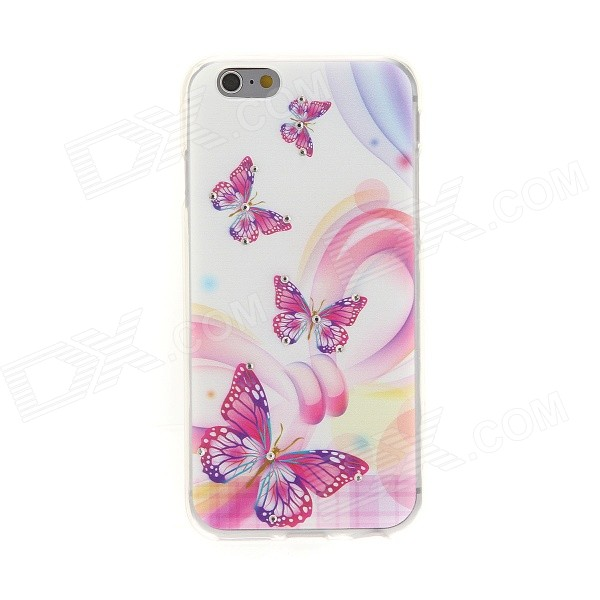 Kinston Butterflys Diamond Paste Pattern TPU Soft Back Case for IPHONE 6 - Red + White + Multi-color стул столлайн мэри 01 06 орех темный faro 1