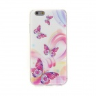 Kinston Butterflys Diamond Paste Pattern TPU Soft Back Case for IPHONE 6 - Red + White + Multi-color